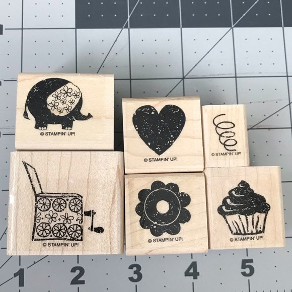 ★3 for $25 ★ Sale Stampin' Up! Carnival Set Rubber Stamps Set of 6
